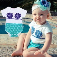 Baby Boy Girls Todder Sea-maid Cotton One Piece Romper Outfit Clothes Bodysuits (3-6 Months)