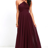 Everlasting Enchantment Burgundy Maxi Dress