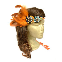 Orange Native American Headdress, Feather Fascinator Headband, Boho Hippie Feather Headband, Tribal Headdress, Indian Headband