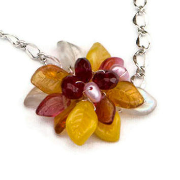 Pink and Yellow Beaded Necklace, Flower Necklace, Pendant Necklace, Nature Jewelry