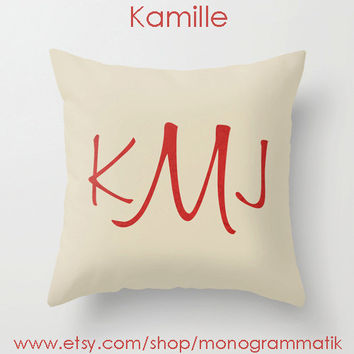 "Monogram Personalized Custom Pillow Cover ""Kamille "" 16"" x 16"" Unique Gift for Her Him Couch Bedroom Room Cream Red Clean Lines Simple Silk"