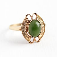Vintage Jade Ring - 10k Rosy Yellow Gold Oval Green Gem Cabochon - Retro 1960s Size 5 1/2 Modernist Butterfly Design PSCO 60s Fine Jewelry