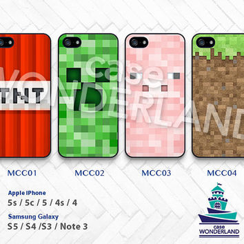 Minecraft, iPhone 5 case, iPhone 5C Case, iPhone 5S case, iPhone 4 Case, iPhone 4S Case, Minecraft Creeper Samsung Galaxy S3 S4 S5 Note -MCC