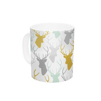 "Pellerina Design ""Scattered Deer White"" Gold Green Ceramic Coffee Mug"