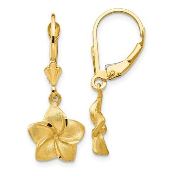 11mm Satin and Diamond Cut Plumeria Dangle Earrings in 14k Yellow Gold