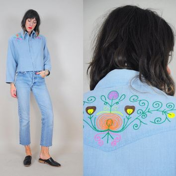 70's Hand Embroidered Western shirt