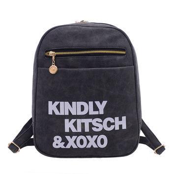 Fashion Women PU Shoulder Bag Women Satchel Travel Blosas Bags Washed Leather Backpacks Student School Backpacks  SN9