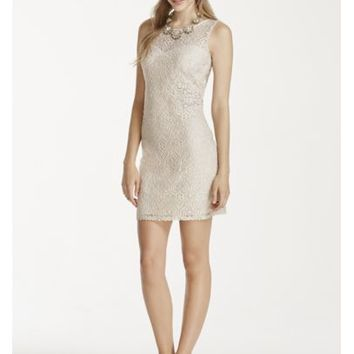 Short Lace Dress with Illusion Neckline - Davids Bridal