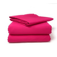 Tache 2-3 Piece Cotton Solid Hot Pink Superstar Bed sheet (Flat Sheet) (TABS3PC-PIFL)