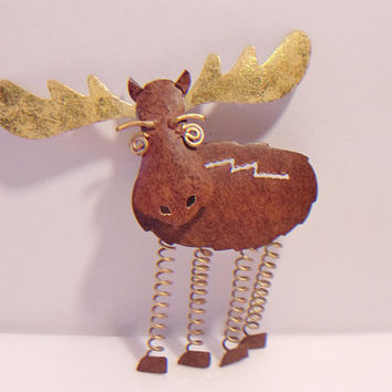 Metal Moose Refrigerator Magnet Rustic Kitchen Frige Decor Cabin Lodge
