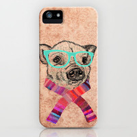 Funny Cute Pig Drawing Teal Geek Hipster Glasses iPhone & iPod Case by Girly Trend