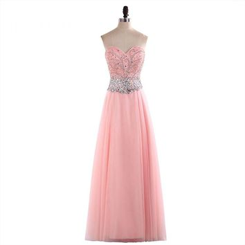 Elegant Sweetheart Neck Tulle Beading A Line Long Prom Dresses Sleeveless Off The Shoulder Floor Length Prom Gowns