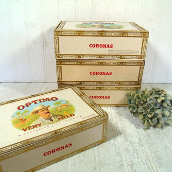 Cigar Boxes Set of 4 A. Santaella & Co. Optimo Coronas Ornate Graphics Cigar Boxes - Boxes for Display Art Projects or Storage Organization