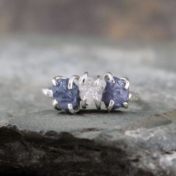 Three Stone Rough Diamonds and Rough Denim Blue by ASecondTime