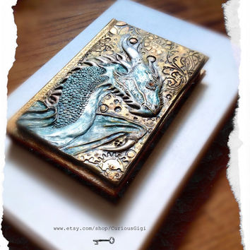 Dragon sketchbook steampunk art, one of a kind gifts, made to order