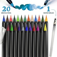 PuTwo Watercolor Brush Pens 20 Colors Calligraphy Pen 100% Non-Toxic Odorless Watercolor Pens for Painting Manga Comic Coloring Books Paint Markers Set– with 1 Free Water Paintbrush Felt Tip Pen
