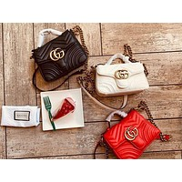 Gucci Fashion Lady Dual G Hot-selling V-type Leather Mini Shopping Bag Handbag