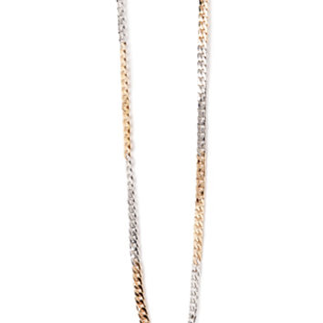 Two-Tone Curb Chain Necklace Gold/Silver One