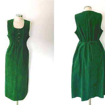 Hunter green corduroy dress / velvet / button / vintage / 1980s / ribbed / pleated / max length / sleeveless / cotton tie waist dress