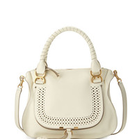 Chloe Marcie Medium Perforated Satchel Bag, White