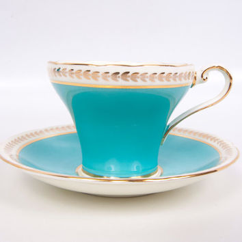 Vintage Aynsley Teal Teacup Made in England Bone China Turquoise Tea Cup and Saucer Gold Trim