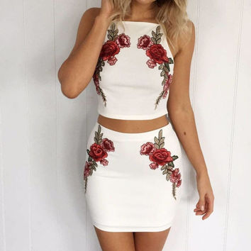 Embroidery Flower Sexy Fashion Bodycon Set Two-Piece Mini Dress