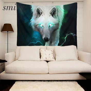 Smiry 3D print The forest wolf pattern Polyester Tapestry size 150x130 cm Beach Blanket Room Divider Yoga Beach fashion Tapestry