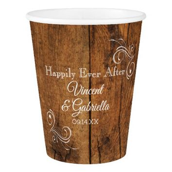 Faux Rustic Brown Barn Wood Swirl Country Wedding Paper Cup