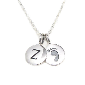 Initial & Footprint Charm Necklace