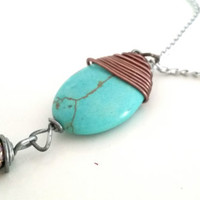 "Pendent Necklace Wrapped in Copper Steel Wire, Faux Turquoise Beaded Stone Charm, Southwestern Jewelry for Women, 18"" silver plate chain"