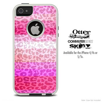 The Pink & Striped Cheetah Print Skin For The iPhone 4-4s or 5-5s Otterbox Commuter Case