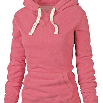 Hooded Long Sleeve Pocket Design Hoodie