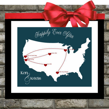Our Love Story. Personalized Wedding Gift. Custom Map. Anniversary Gifts For Husband. Her. Wife. Him. Long Distance Relationship. History.