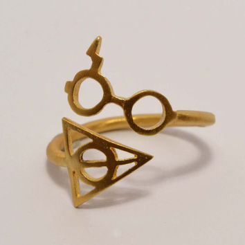 Harry Potter Ring Sterling Silver gold plated Jewelry Teen Modern Minimal Geek Rings Harry Potter Jewelry Birthday Gift Idea