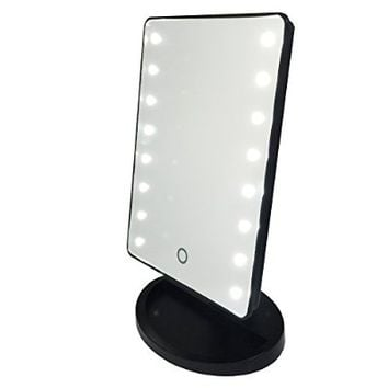 KI Store Battery Operated Cordless Touch Screen LED Lighted Vanity Cosmetic Make Up Mirror / Makeup Mirror with LED Lights, with Portable 3 Inches 10x Magnification Spot Mirror (Black)