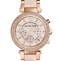 Michael Kors Women's Chronograph Parker Blush and Rose Gold-Tone Stainless Steel Bracelet Watch 33mm MK5896
