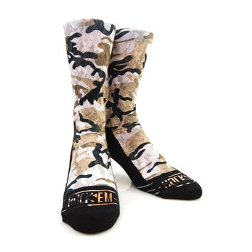 Rock Em Elite Originals Armored Camo Crew Socks - Sand