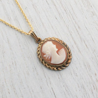 Vintage Cameo Necklace - Carved Shell 12K Yellow Gold Filled Dainty Victorian Revival Pendant Jewelry / Pink & White