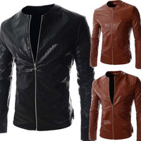 Collarless Design Men's Slim Fit Zip Up Faux Leather Jacket