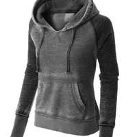 PREMIUM Womens Lightweight Athletic Burnout Pullover Hoodie