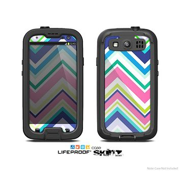 The Vibrant Colored Chevron Pattern V3 Skin For The Samsung Galaxy S3 LifeProof Case