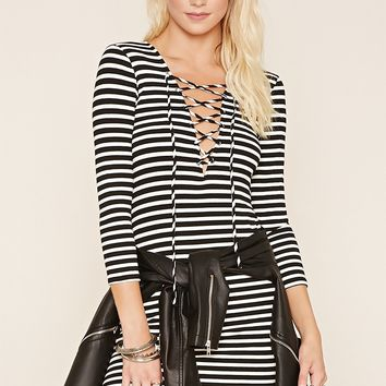 Stripe Lace-Up Bodycon Dress