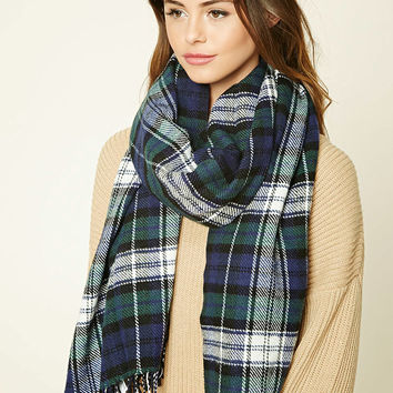 Fringed Plaid Oblong Scarf