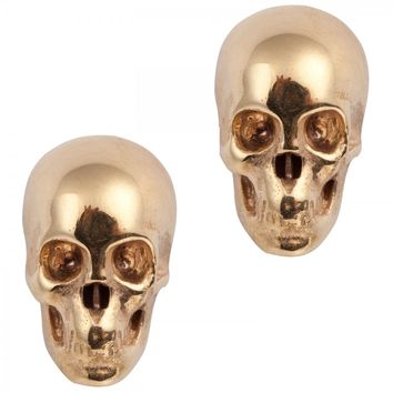 Skull gold-plated earrings