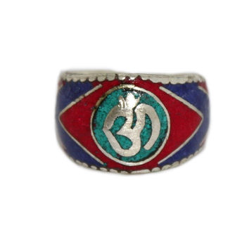 Om center turquoise yoga ring