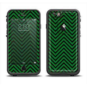 The Green & Black Sharp Chevron Pattern Apple iPhone 6 LifeProof Fre Case Skin Set