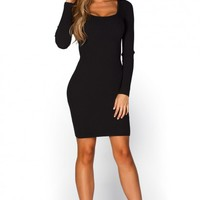 Ilene Black Cut Out Crisscross Back Long Sleeve Ribbed Knit Dress