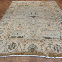 8 x 10 Hand Knotted Sky Blue Oushak Oriental Rug