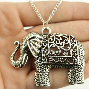 WYSIWYG  fashion antique silver tone 59*47mm elephant pendant necklace, 70cm chain long necklace