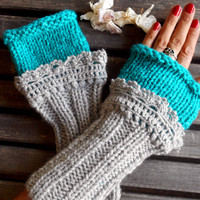 Fingerless Gloves, Crochet, Grey, Long Gloves, Winter Gloves, Long Knitted Gloves, Women gloves, Arm Warmers, Gift Ideas